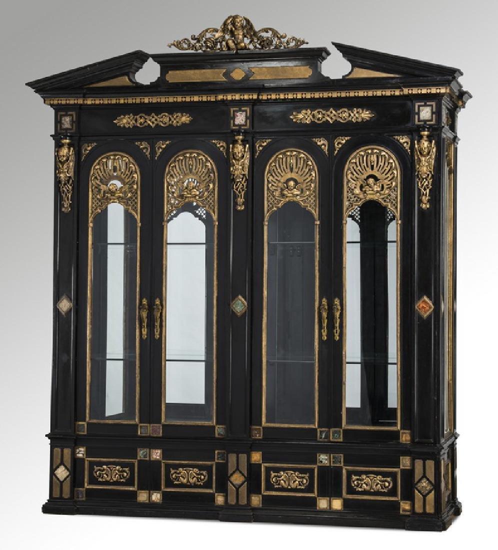 "19th c. Italian gilt and ebonized vitrine, 119""h"