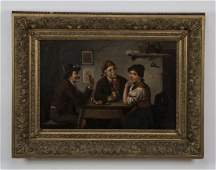19th c German Oc of Bavarian tavern scene signed