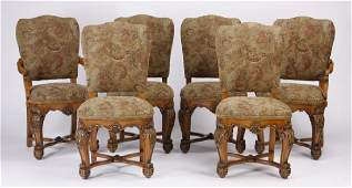 6 Italian carved walnut dining chairs