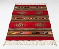 Southwestern style wool flat weave rug 57l