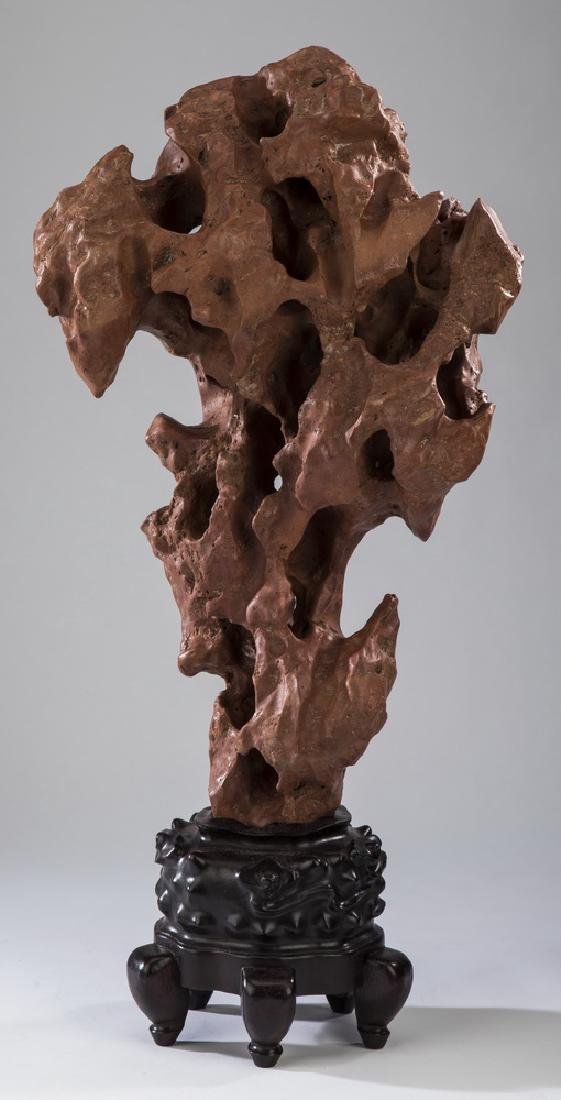 """Chinese scholar's rock with stand, 26""""h"""