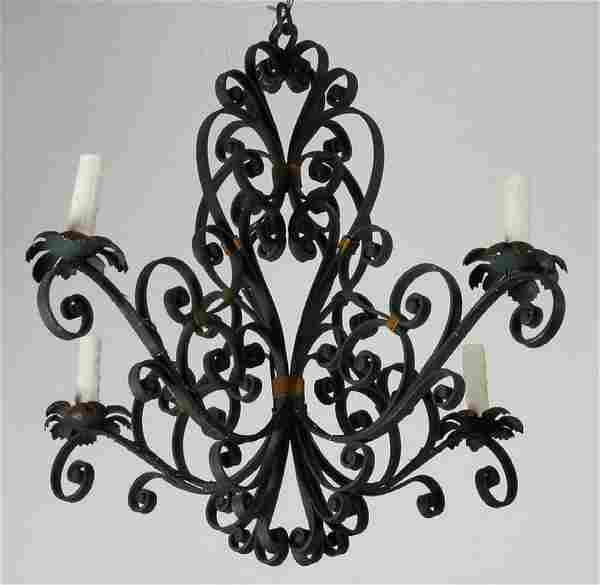 Early 20th c. French 4-light wrought iron chandelier