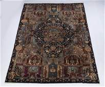 Persian hand knotted wool pictorial rug ca 1940