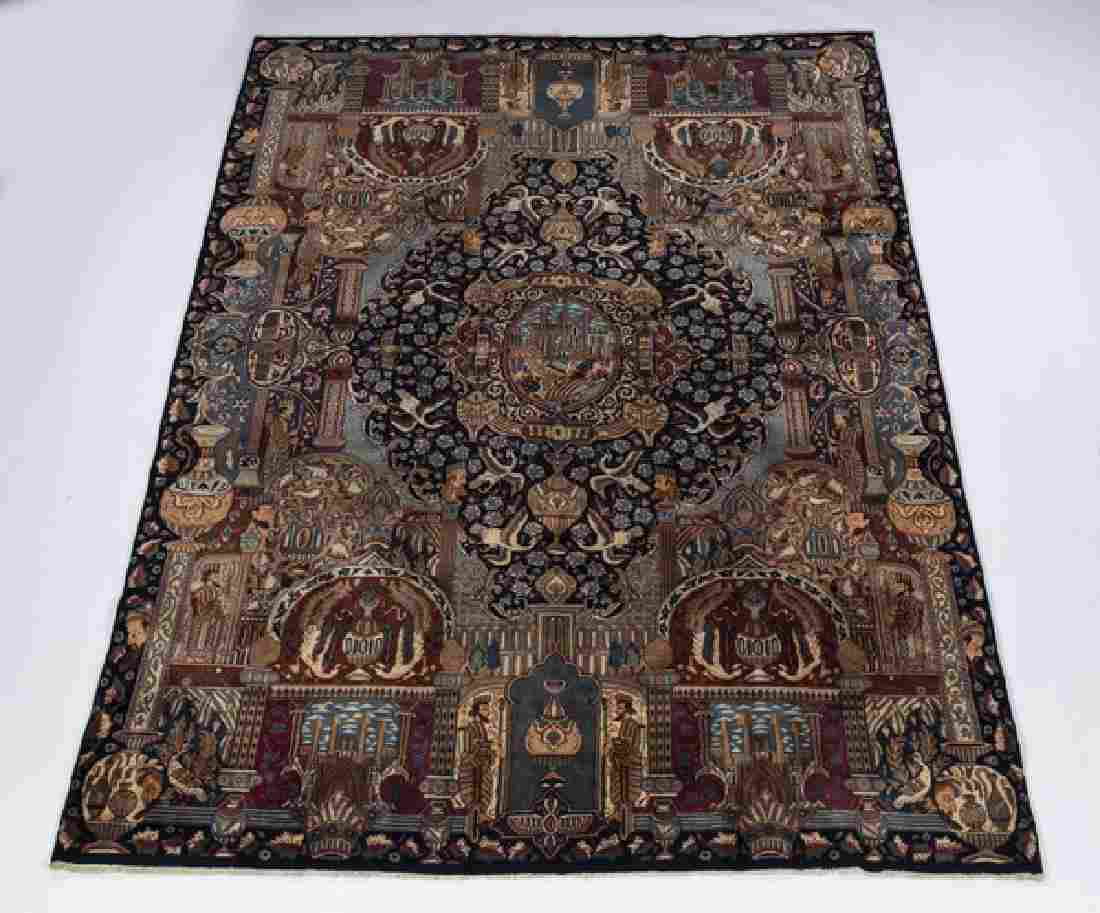 Persian hand knotted wool pictorial rug, ca 1940