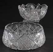 Two Bohemian cut crystal bowls 9w and 12w