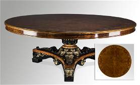 "Italian marquetry inlaid center table, 84""dia"