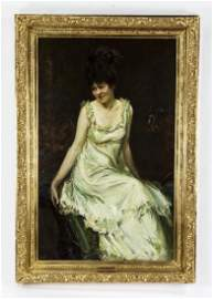 Early 20th c. Antonio Barone signed O/c, 'Spring Gown'