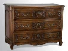 """18th c. French Provincial walnut commode, 40""""h"""