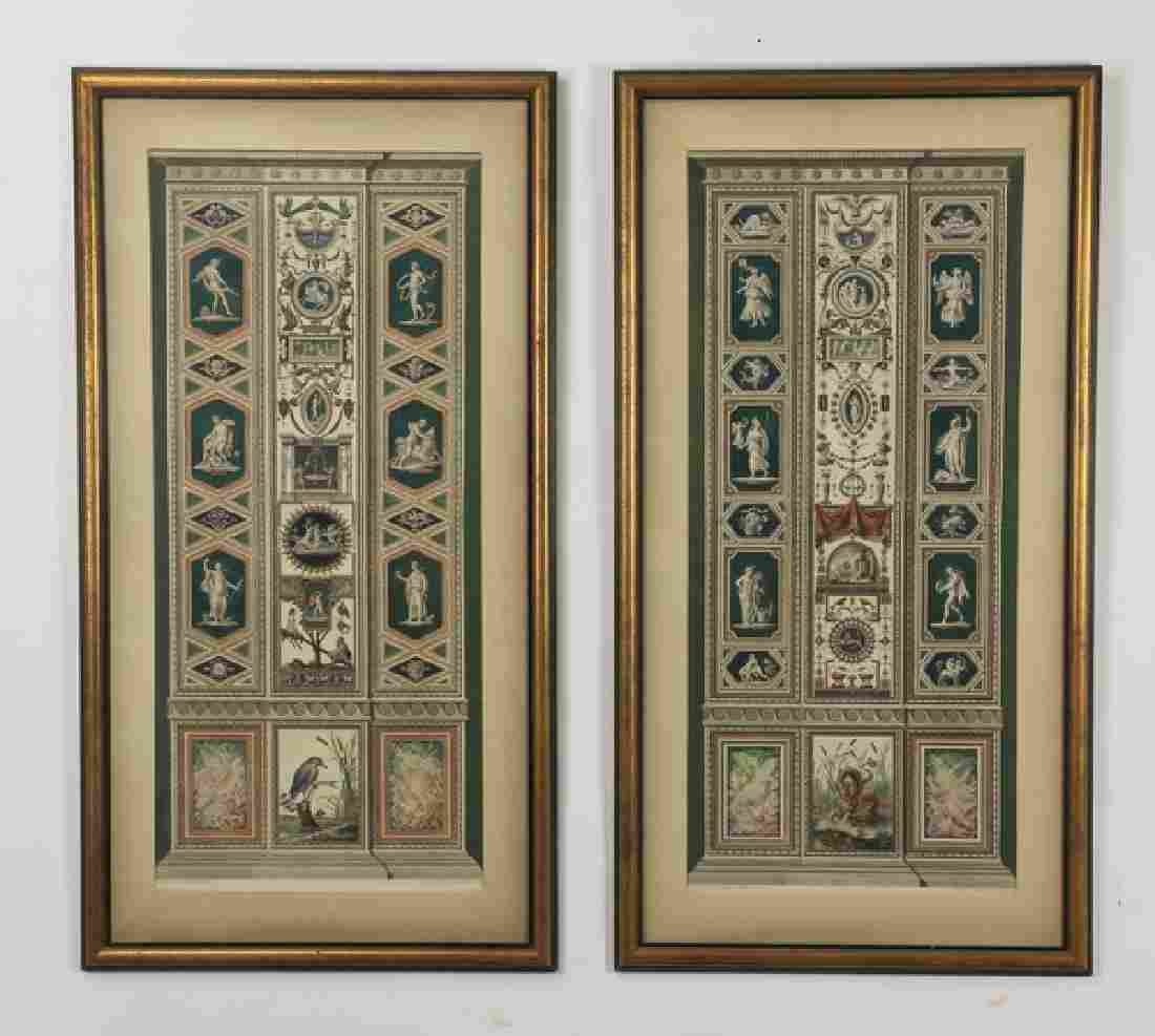 """(2) 18th c. Italian hand colored engravings, 49""""h"""
