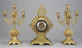 19th c French gilt bronze clock  candelabra
