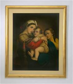 After Raphael, 'Madonna della Seggiola' 19th c. O/b