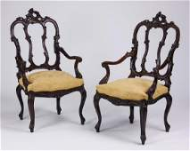 (2) 19th c. French Rococo style carved oak armchairs