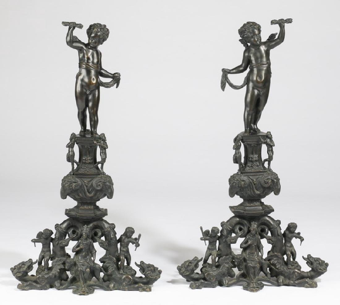 """(2) Oversized 19th c. figural bronze andirons, 37""""h"""
