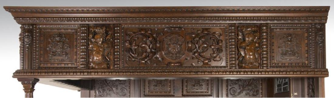 Ornately carved corner pub bar w/ armorial plaques - 2