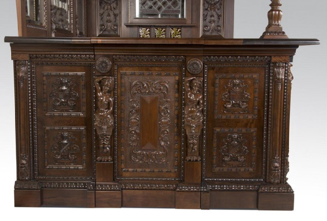 Ornately carved corner pub bar w/ armorial plaques - 7