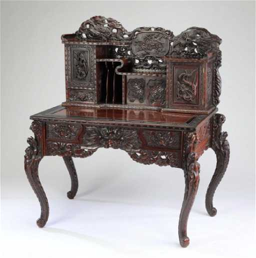 Anese Carved Dragon Desk 53 H