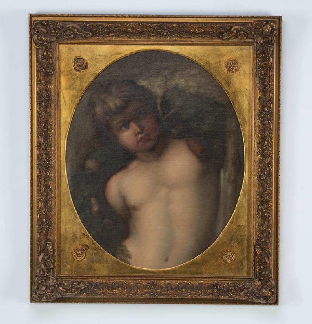19th c. Continental O/c portrait of youth w/garlands
