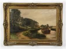 George Wren signed O/c river scene, 19th c.