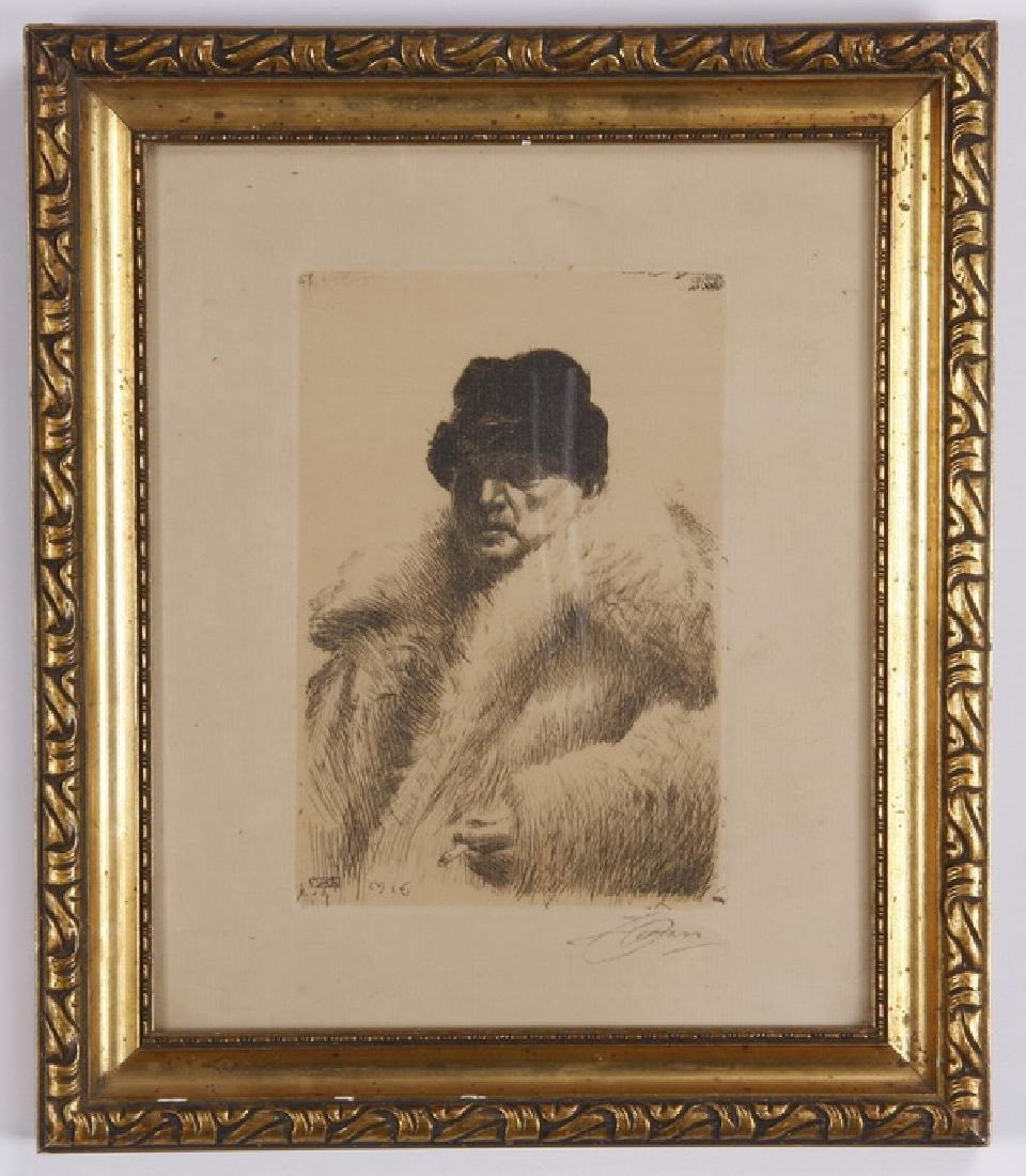 Anders Zorn self portrait etching on paper