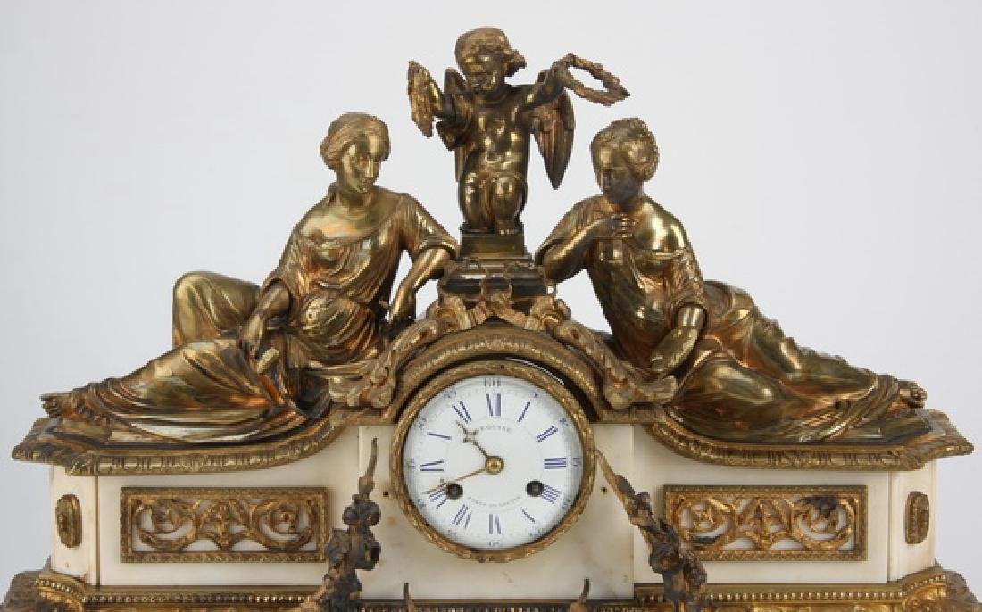 """19th c. French figural bronze and marble clock, 24""""w - 2"""