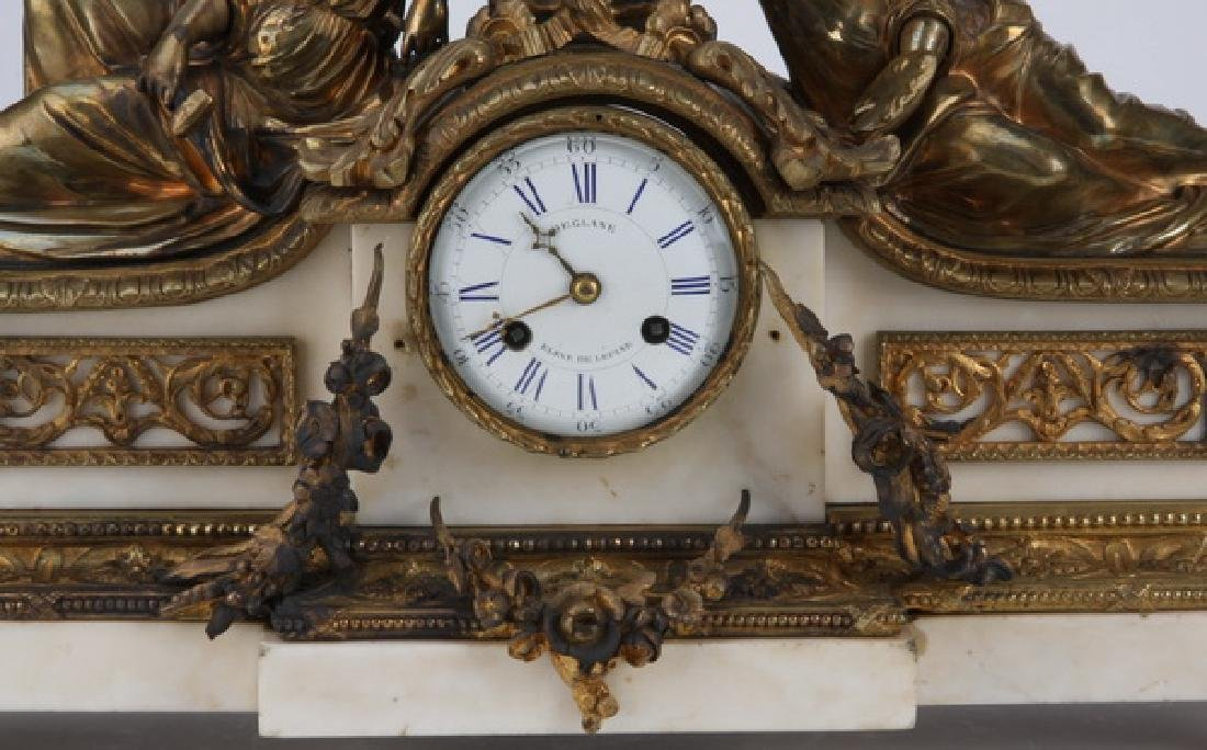 """19th c. French figural bronze and marble clock, 24""""w - 3"""