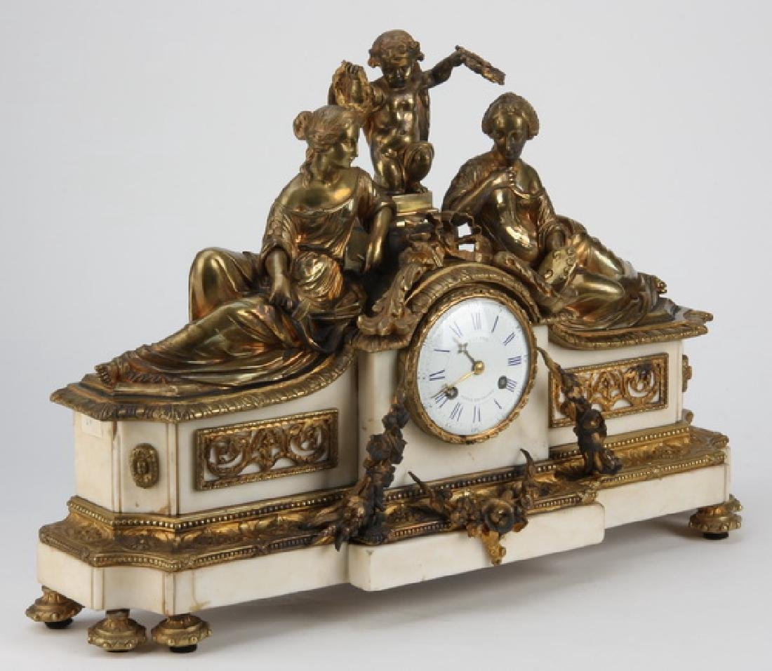 """19th c. French figural bronze and marble clock, 24""""w - 4"""