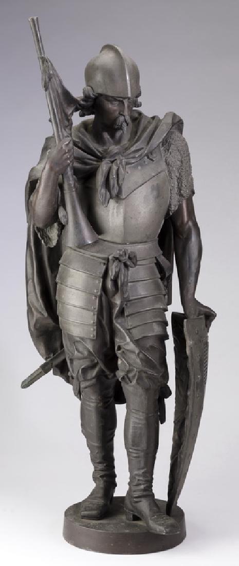 Sculpture of knight in Renaissance armor w/trumpet