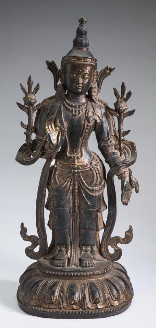 "Sino-Tibetan bronze White Tara statue, 19""h"