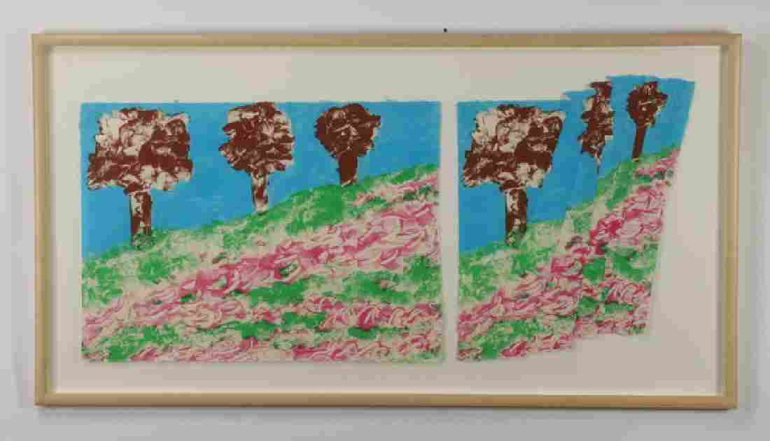 """Contemporary signed & numbered lithograph, 66""""w"""