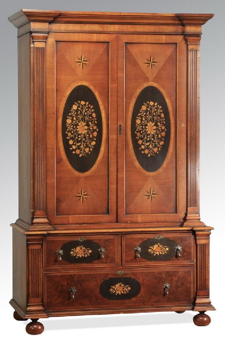 """Marquetry inlaid cabinet, 74""""h"""
