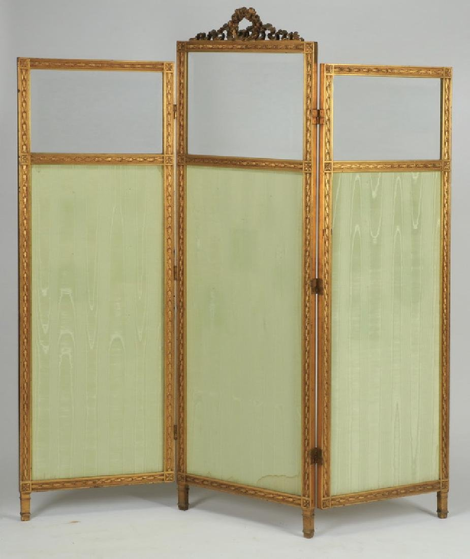 "19th c. French three panel screen, 71""h"