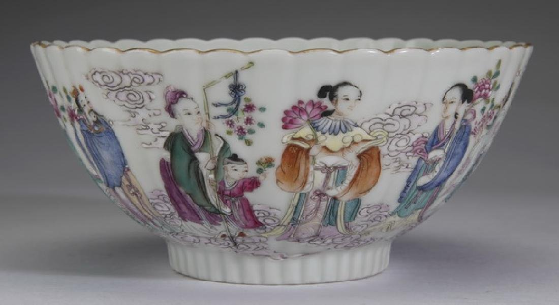 """Chinese famille rose bowl, w/ Immortals, 6""""w."""