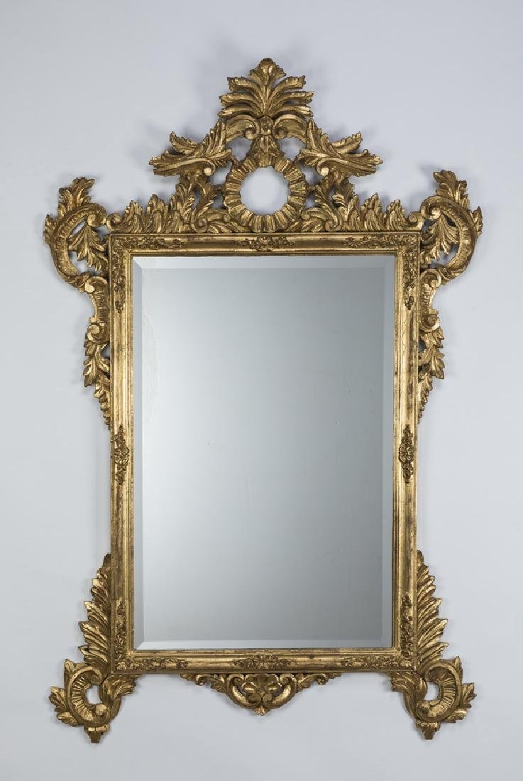 "Regency style gilt wood and gesso wall mirror, 56""h"