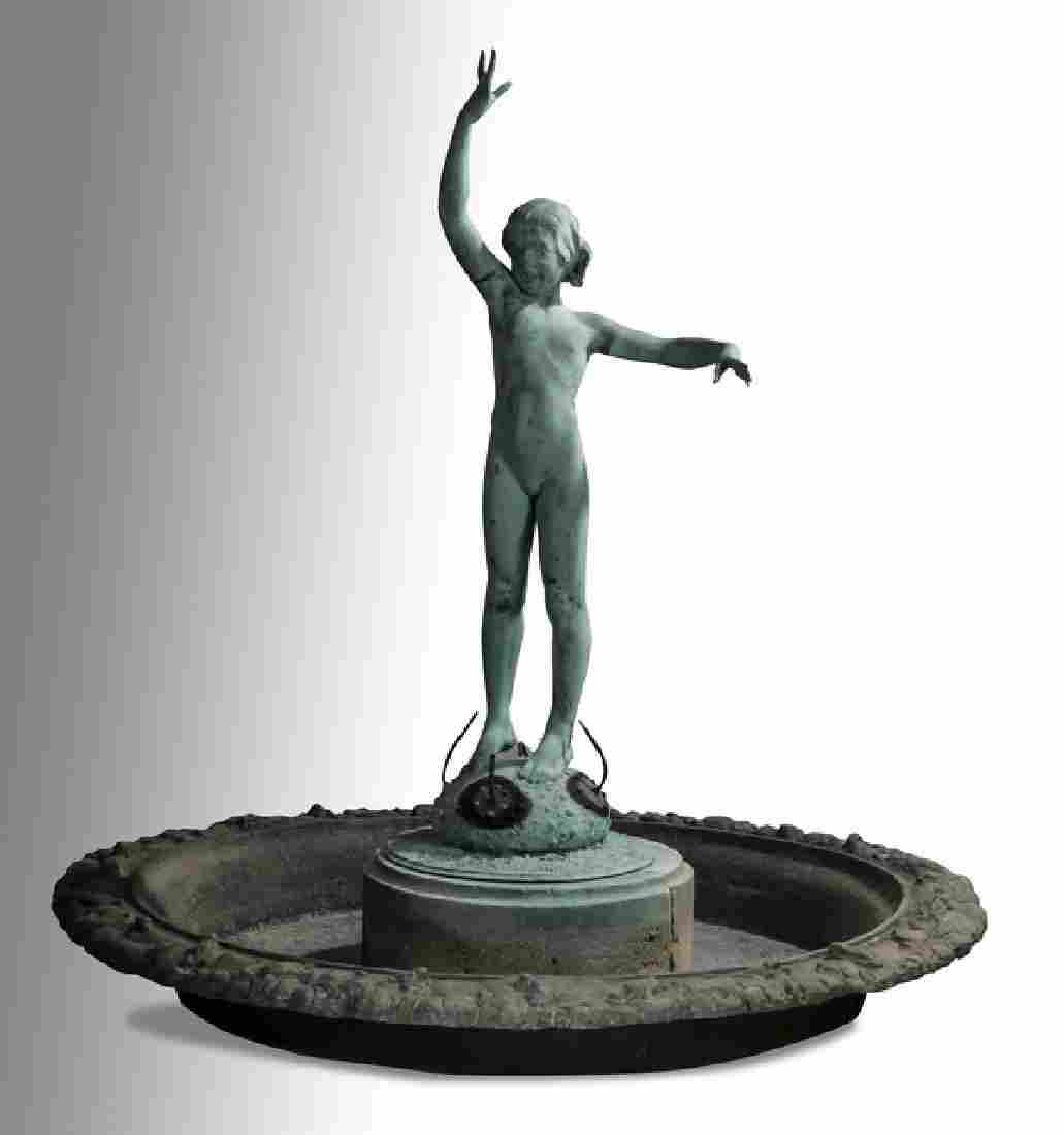 "Edward Berge 'Sea Urchin' signed bronze fountain, 60"""