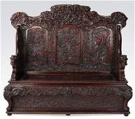 """Chinese carved dragon-form hall bench, 63""""w"""