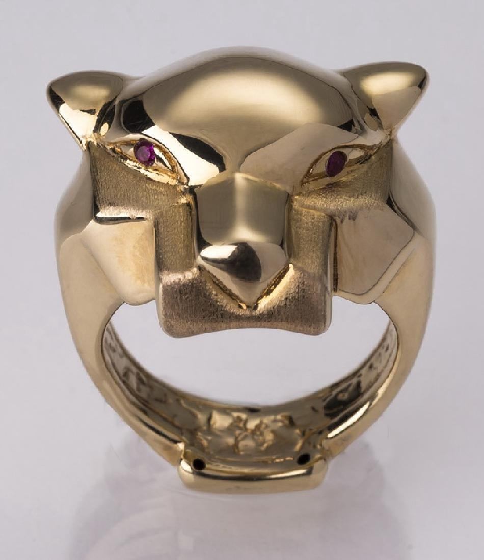 Cartier inspired 14k & ruby panther ring