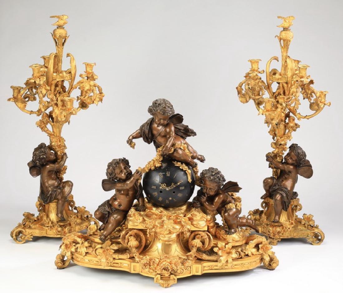 "19th c  figural French ormolu clock garniture, 34""h"
