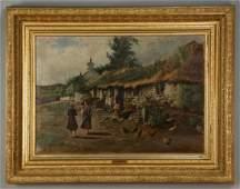 19th c William Adam signed Oc farm scene w figures