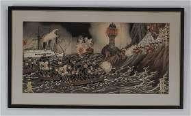 2 Meiji era SinoJapanese woodblock prints framed