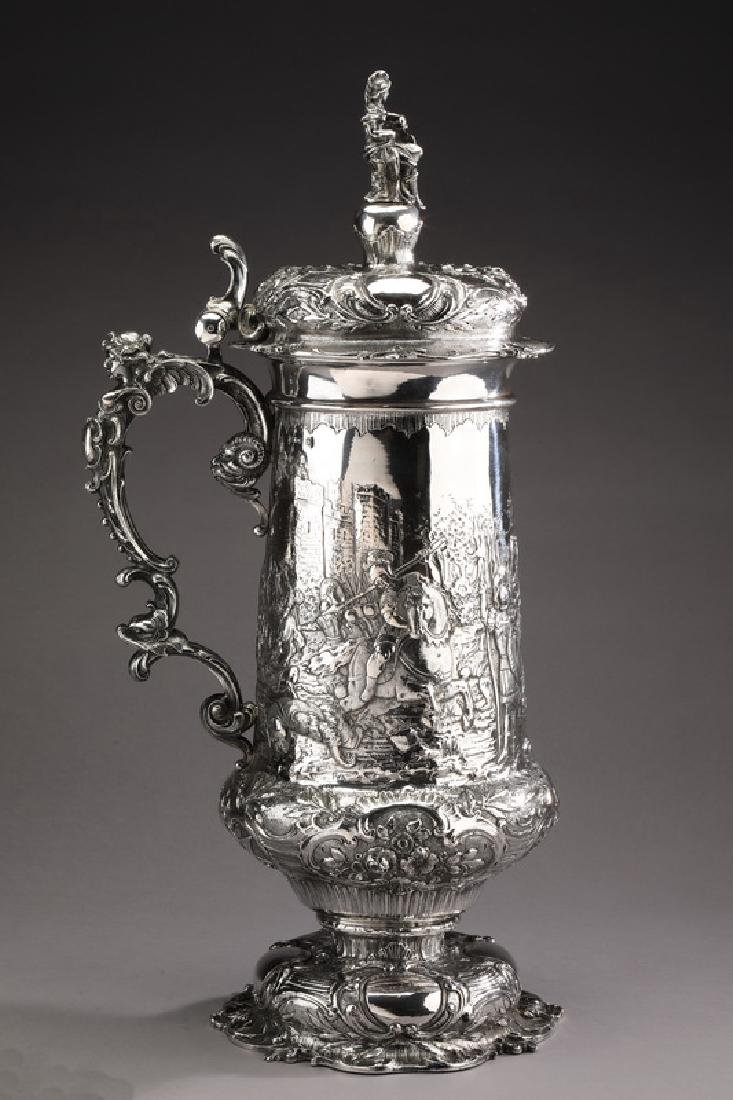 Monumental sterling silver tankard, ca 1900, marked