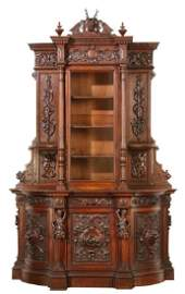Oversized 19th c. carved oak cabinet, attr to Roux