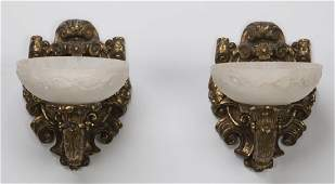 (2) French style gilt bronze and alabaster sconces