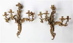 2 Louis XV style gilt bronze wall sconces 27h
