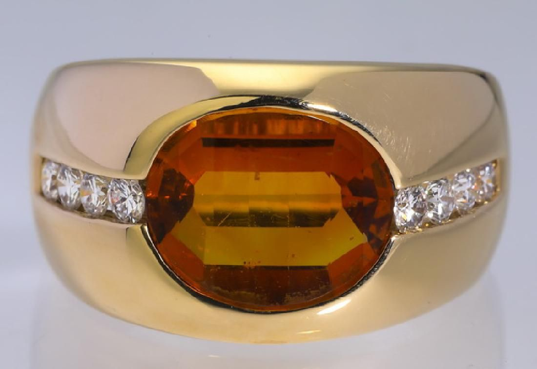 Citrine, diamond & 14k yellow gold ring
