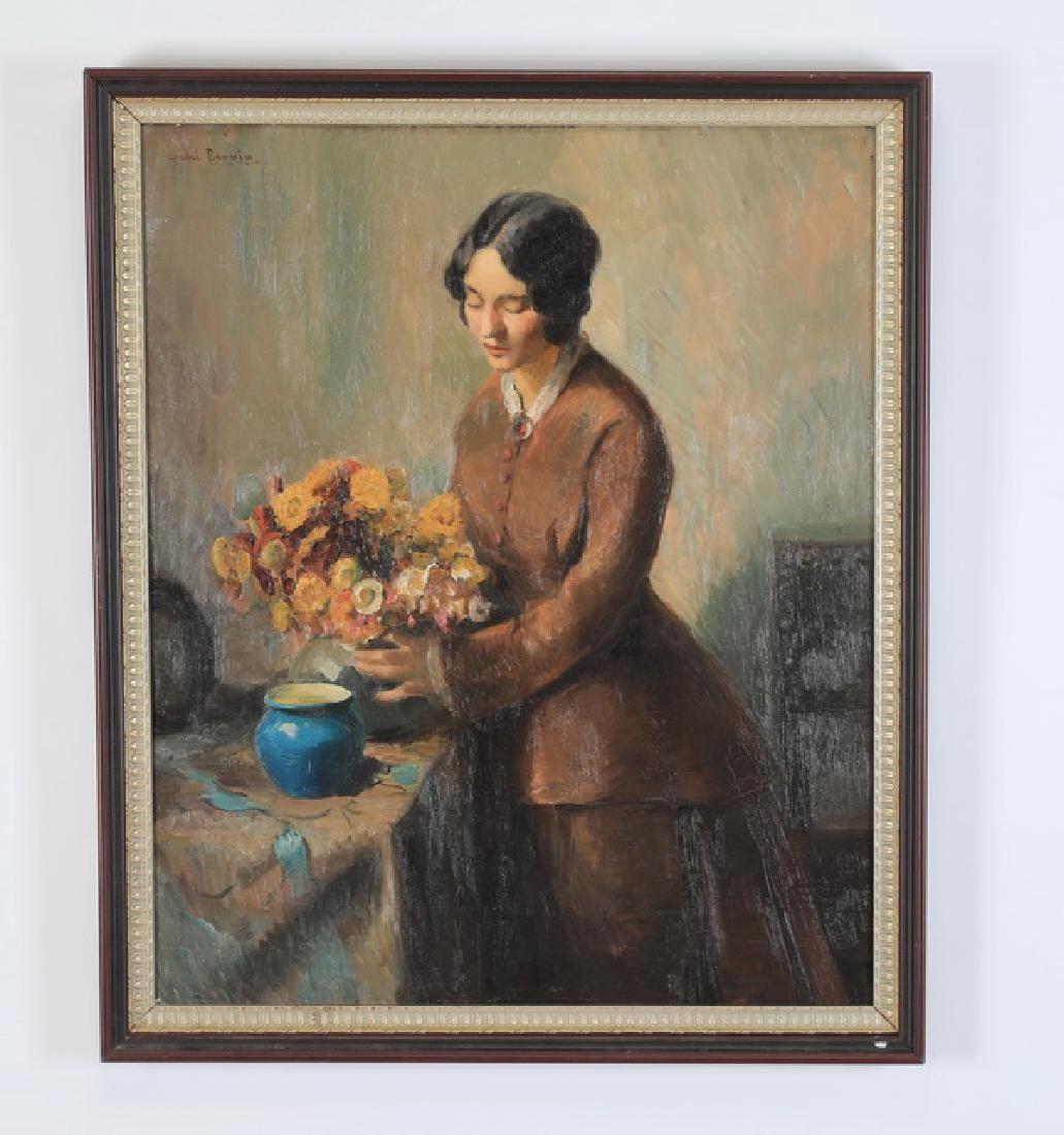 Andre Brunin signed O/c titled 'Arranging Flowers'