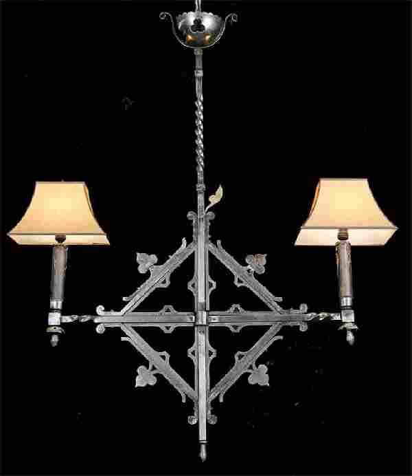 19th c. French wrought iron pendant light