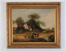 Early 20th c signed Continental Oc barnyard scene