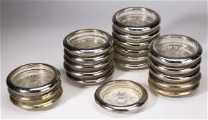 20 Italian crystal and silverplate coasters 3dia