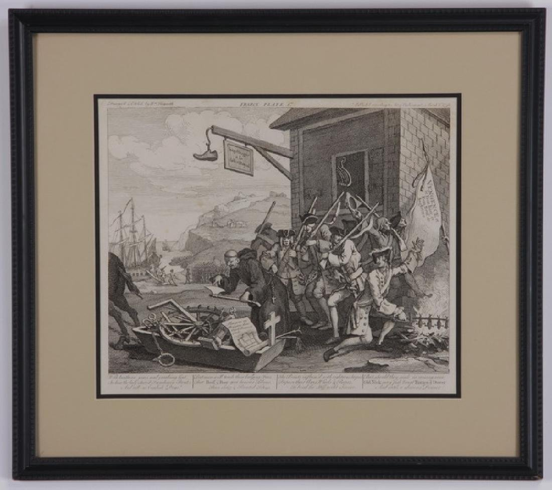 (3) William Hogarth framed engravings, 18th c