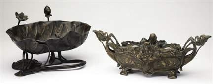(2) Patinated bronze centerpiece bowls